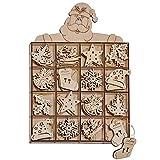 com-four® 48-teiliges Christbaumschmuck Holz-Anhänger Set - Weihnachtsbaumschmuck zum Dekorieren für Ihren Weihnachtsbaum (0048 Stück - Holzbilder)