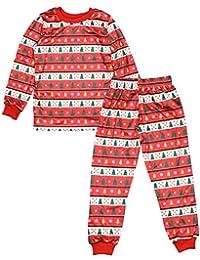 KINDOYO 2 Piezas Manga Larga Familia Pijama - Ropa de Dormir Navidad Árbol Pijama Set de