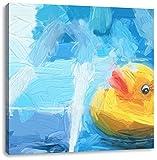 Quietsche Ente im Wasser, Format: 60x60 auf Leinwand, XXL riesige Bilder fertig gerahmt mit Keilrahmen, Kunstdruck auf Wandbild mit Rahmen, günstiger als Gemälde oder Ölbild, kein Poster oder Plakat