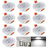 Hengda® 10x 3W LED Einbauleuchte Spot Einbaustrahler Set Decken Lampe für Badezimmer Wohnzimmer Küche Esszimmer 230V High Power kaltweiß Alu-glatt