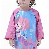 CosPrincely Grembiule Pittura Bambini Impermeabile TPU Bavaglino Maniche Lunghe Kids Painting Smock 1-6 Anni