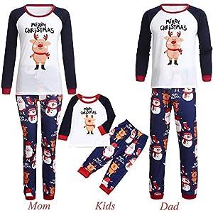 Weihnachts Familie Schlafanzug Pajamas Weihnachten Cartoon Schwein Brief Print Tops + Hosen Bekleidung,Weihnachtsmann Schneemann mit Rentier