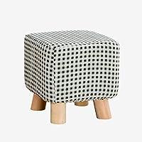 Preisvergleich für Fußhocker und Puffs ändern Schuhe Hocker Mode Hocker Holz Hocker tragen Schuhe Bank Stoff Sofa Bank mit Baumwolle und Leinen Oberfläche 4 Holzbeine im Wohnzimmer Schlafzimmer 25CMX25CMX25CM