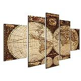 Cuadro Cuadros Impresión sobre lienzo - Formato Grande - Cuadros modernos Antiguo mapa del mundo de la vendimia planisferio