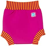 Splash About Kids' Reusable Swim Happy Nappy - Pink/Mango Stripe, Medium (3 - 8 Months)
