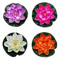 Amison Yigo Floating Pond Decor Water Lily/Lotus Foam Flower, 4pcs