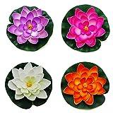Yigo Schwimmende Teich-Dekoration, Wasserlige/Lotusblüte, 4 Stück