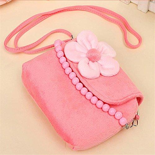 comprare on line WeiMay moda bambina borsetta borsa carino Principessa Messenger spalla borsa borsetta della moneta del velluto per il migliore regalo per 1-6 anni(Rosa piccolo prezzo