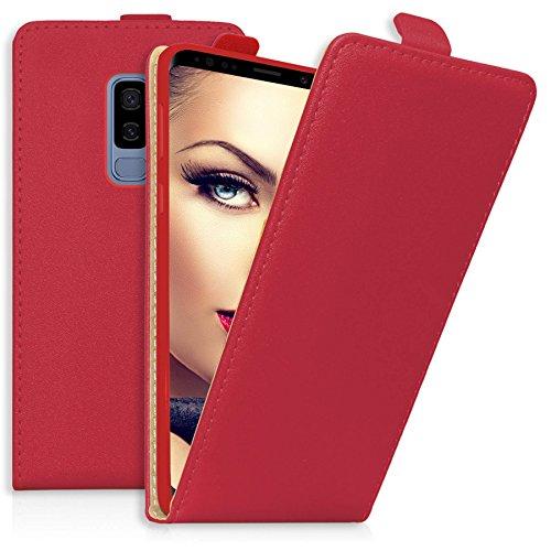 mtb more energy® Flip-Case Tasche für Samsung Galaxy S9 Plus (SM-G965, 6.2'') | Rot | Kunstleder | Schutz-Hülle Cover