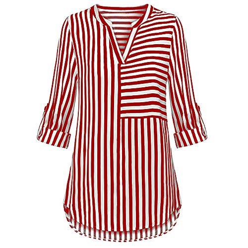 Damen T Shirt, CixNy Bluse Damen Kurzarm Sommer Chiffon Split Mit V Ausschnitt Cuffed Sleeve Striped Oberteil Tops (Rot, X-Large) -