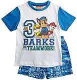 Paw Patrol Schlafanzug Kollektion 2018 Pyjama 92 98 104 110 116 122 Shortie Shorty Jungen Weiß-Blau (Weiß-Blau, 98)