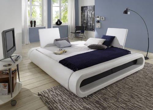 XXS® Möbel Design Bett Rondo 200 x 200 cm weiß / schwarz verstellbare Sitzlehne Lederlook Wasserbett geeignet Füße Chrom Farben