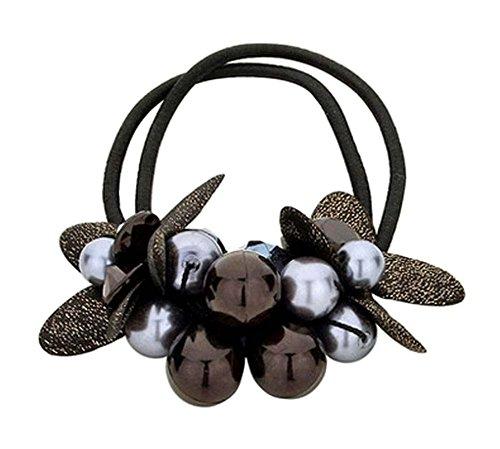 Perlé Scrunchie Elastics Ponytail Rope Porte-cheveux Couvre-chef noir