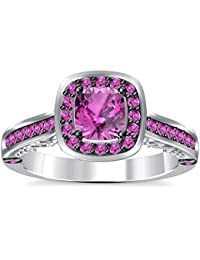 Silvernshine 2Ct Asscher Cut Pink Sapphire CZ Dimoands 14K White Gold PL Engagement & Wedding Ring