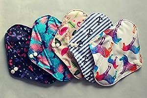 Eco Menstrual Pads 5 Pcs Set - Heavy Flow Absorbency - Digital Print - Flamingo, Bamboo Charcoal, Washable Sanitary Napkin - Sanitary Towels (Size 8.5'' x 7'')