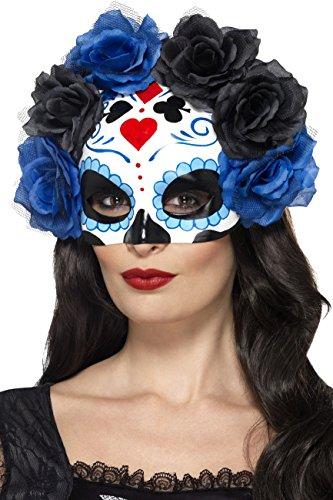 Smiffys, Damen Tag der Toten Halbe Augenmaske mit Rosen, One Size, Blau, (Kostüm Halb Tot)
