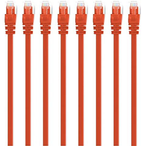 (8-Pezzi) 0.15m Cavo di rete Cat6, CAT.6 Ethernet Gigabit Lan, GearIt Cat 6 con connettori RJ45 Antigroviglio Cavo patch UTP 10/100/1000Mbit/s compatibile CAT7 con CAT5 CAT5e (Switch, Router, Modem, Patchpannel, Access Point, campi patch) Arancione