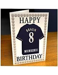 Major League Baseball–National Liga MLB camiseta Imán para Frigorífico–Tarjetas de cumpleaños cualquier nombre, cualquier número, Cualquier Team–Personalización Gratuita. Por myshirt123, hombre mujer Infantil, Milwaukee Brewers MLB Fridge Magnet Card