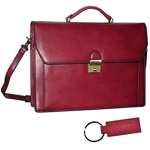 Charmoni-Cartella professionale Thomy, valigetta con 2soffietti, in pelle di vacchetta Rosso (rosso)
