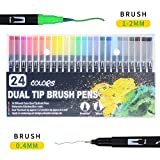 Pluma de dibujo de acuarela, 24 puntas de pincel de doble punta, marcadores de acuarela para colorear, dibujo, cómic, caligrafía, no tóxico