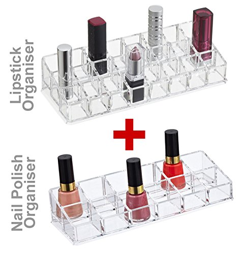 Lifestyle You Combo Deal : Acrylic Lipstick Organiser + Acrylic Nail Polish Paint Organiser. Cosmetic Organsiser. Nice gift for female, Girl, Wife, Girlfriend, Friend, Sister, Colleague etc.