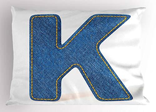 ABAKUHAUS Buchstabe K Kissenbezug, Schriftart-Alphabet, Dekorativer Standard King Size Gedruckter Kissenbezug, 90 x 50 cm, Gelb Blau