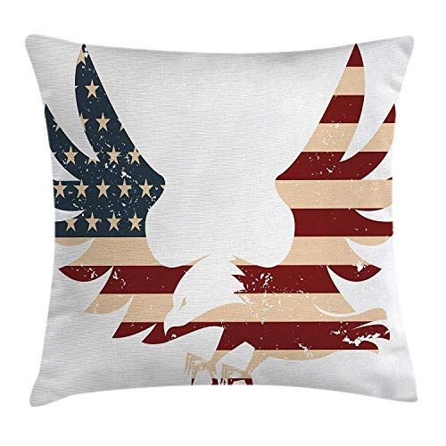 American Throw Pillow Cushion Cover, Patriotic Themed Home of Brave Land of Free USA Bold Eagle with Flag Print, Decorative Square Accent Pillow Case, 18 X 18 Inches, Red Blue and White