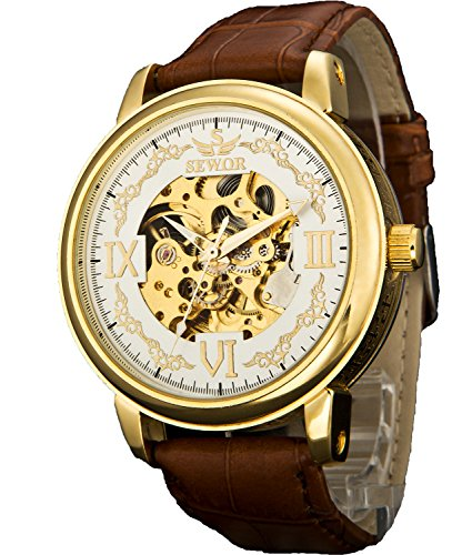Sewor Crusader Mens Mechanical Hand Wind Skeleton Transparent Wrist Watch (Gold White)