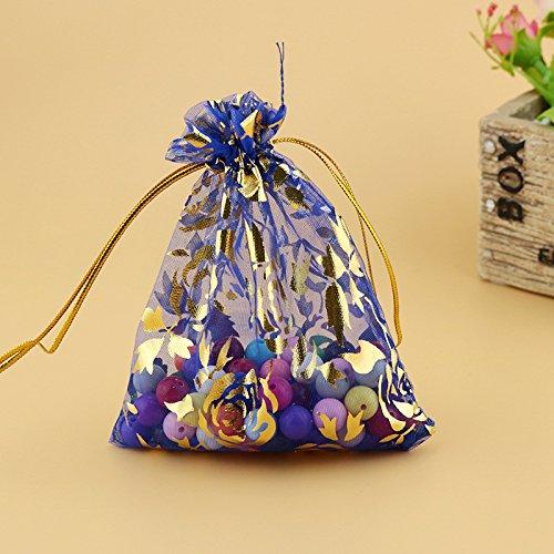 Lanlan 100Kordelzug Organza Jewelry Favor Beutel mit Gold Rose Print Taschen für Geschenk/Hochzeit/Party/Festival, blau