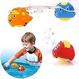 Peradix Baby Wasserspielzeug Badspielzeug Schwimmende Bad Autos oder Tiere Rassel Ball Kunststoff 3 PCs mit Trockentasche (Auto) -