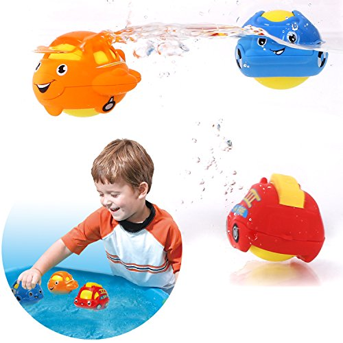 Peradix Baby Wasserspielzeug Badspielzeug Schwimmende Bad Autos oder Tiere Rassel Ball Kunststoff 3 PCs mit Trockentasche (Auto) (Weihnachten Tee Baby)