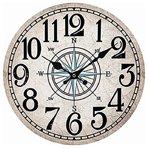 Ailing antique/casual / country wood round indoor, orologio da parete a batteria,b,m