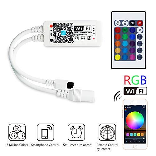 HaoDeng Mini RGB Wifi Controller für LED Strip/Streifen Kompatibel mit Alexa, Google Home, IFTTT, und Siri IR Fernbedienung Steuerung, 16 Mio Farben, 20 Dynamische Modi