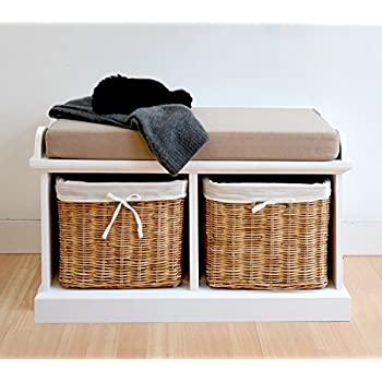 Tetbury Hallway Coat Rack and Bench set with 2 natural baskets, FULLY ASSEMBLED hallway storage