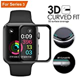 LucBuy 38mm / 42mm Apple Watch Pellicola salvaschermo per Schermo in Vetro temperato iWatch 3D Full Coverage, Anti-Bolla HD, AntiGraffio per iWatch Series 3/2/1 (42mm)