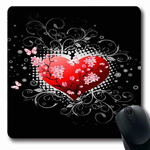 Luancrop Mousepad für Computer Notebook Zweig Rosa Valentinstag Schwarz Feiertage Abstrakt Rot Blüte Kirsche Osten Eleganz Design Blume rutschfeste Gaming Mouse Pad -