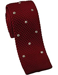 Red Knitted Skinny Tie with White Polka Dot