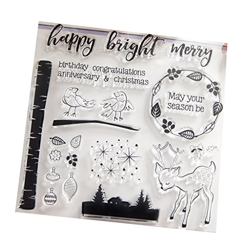 ECMQS Bright Merry DIY Transparente Briefmarke, Silikon Stempel Set, Clear Stamps, Schneiden Schablonen, Bastelei Scrapbooking-Werkzeug