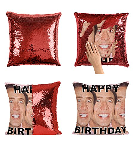 Happy Birthday Nicolas Cage Faces Actor P27 Sequin Pillow, Kissen, Sequin Pillowcase, Two Color Pillow, Gift for him her, Magic Pillow, Mermaid Pillow Cover, Kissenbezug, Christmas Gift