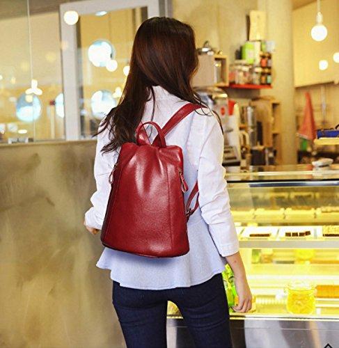 Mode Wannenbeutel Rucksack Frauen Mit Großer Kapazität Trend In Europa Und Amerika Ledertasche red