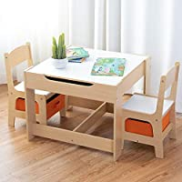 COSTWAY Kids Table Chair Set, Double Side Tabletop Table + 2PCS Chairs with Storage Box, Activity Desk Nursery Wooden Multifunction Furniture (White)