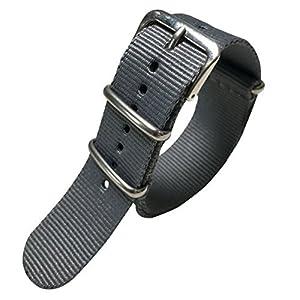 Autulet 20mm Nylon Uhrenarmband Damen Grau