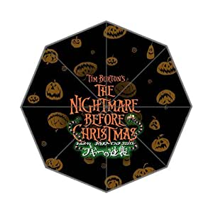 Classic Animated Film&The Nightmare Before Christmas Background Triple Folding Umbrella!43.5 inch Wide!Perfect as Gift!