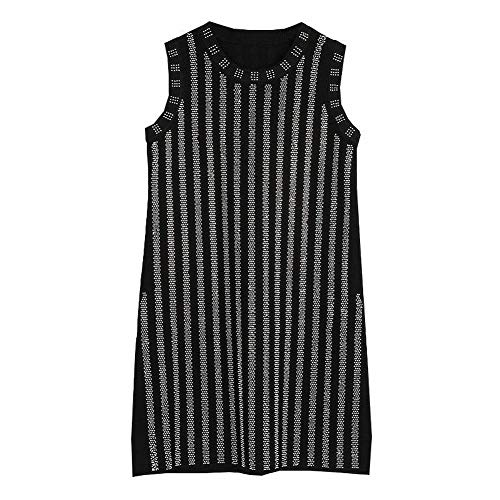 Good dress Crafting-Prozess Komplexe Heiß Bohren Ärmelloses Kleid Schlank Gestreiften Metall Weste Rock, Schwarz, m -