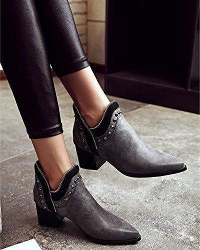 Minetom Donna Autunno Inverno Chelsea Boots Tacco a Blocco Stivali Stivaletti Rivetto Cerniera Stivaletti Corti Grigio