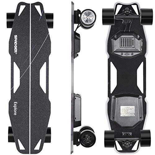 Spadger D5X Plus - Elektro Skateboard Longboard, mit LED-Licht und Lautsprecher, Dual Motor 900W, Ultra Stoßfest Design, Reichweite bis zu 20 KM*, E Skateboard mit Fernbedienung für Erwachsene