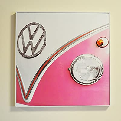 VW Framed Wall Art Pink Campervan - inexpensive UK light store.