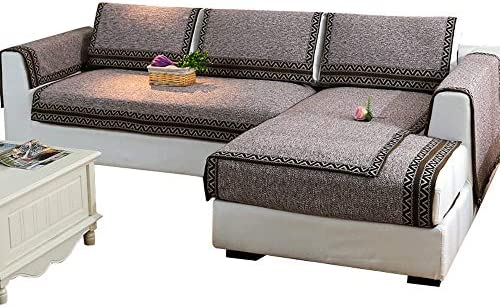 Divano Cuscino Four Seasons Universale Tessuto Cotone Lino Soggiorno Antiscivolo (Grigio, Lino Copridivano per la casa Pet Prossoector (Grigio, Antiscivolo 70  150cm) b7741e