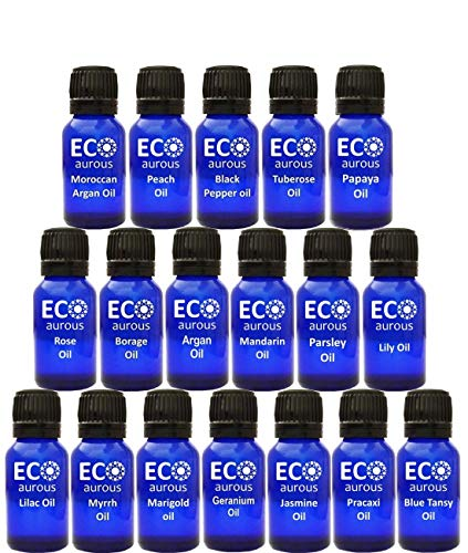 Organic Aromatherapy Essential Oils Set(16X10ml(0.33 oz Each) Pure & Natural - Turmeric Oil, Rose Otto Oil, Peppermint, Sweet Orange, Tea Tree, Lemongrass, Bergamot, Lavender & Cinnamon Oil - Kit Tea Tree