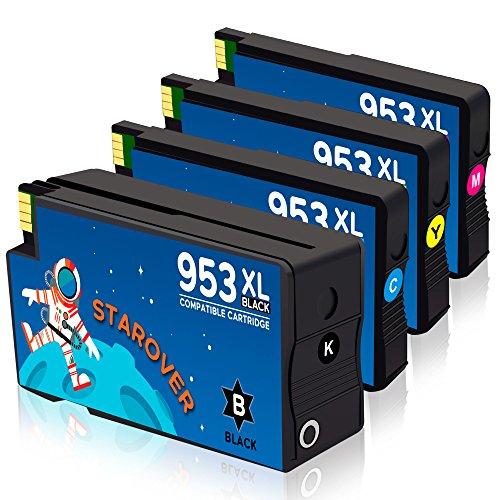 Starover 4x 953xl 953 xl cartucce d'inchiostro alta capacità compatibile con hp officejet pro 7740 8218 8710 8715 8718 8719 8720 8725 8728 8730 8740 8745 stampante (1 nero + 1 ciano + 1 magenta + 1 giallo)